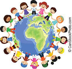 diferente, feliz, círculo, crianças