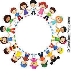 diferente, feliz, círculo, niños