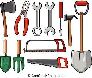 diferente, ferramentas, tipos, mão