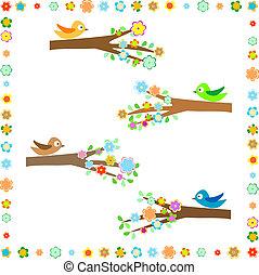 diferente, flor, ramos, sentando, árvore, decoração, pássaros
