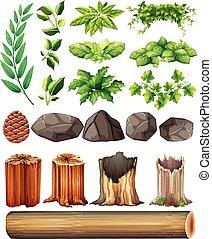 diferente, folhas, tipos, pedras