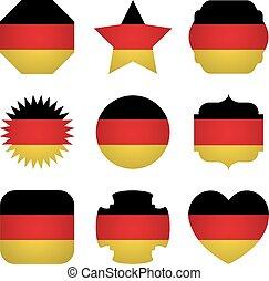 diferente, formas, bandeira, alemanha, fundo, branca