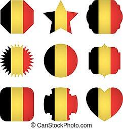 diferente, formas, bandeira, fundo, bélgica, branca