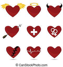 diferente, formas, de, coração