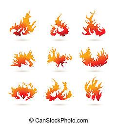 diferente, formas, de, fogo