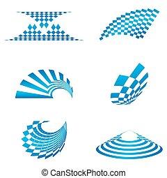 diferente, formas, de, logotipo
