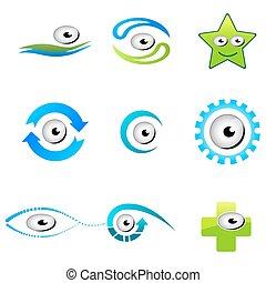 diferente, formas, de, olhos