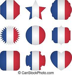 diferente, frança, formas, bandeira, fundo, branca