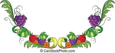 diferente, frutas, borda