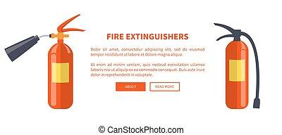 diferente, fuego, dos, rojo, extintores, tipos