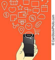 diferente, gadgets., ícones, modernos, fluxos, vetorial, ilustração, tecno, lineart