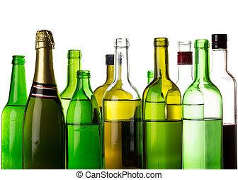 diferente, garrafas, álcool, isolado, branca, bebidas
