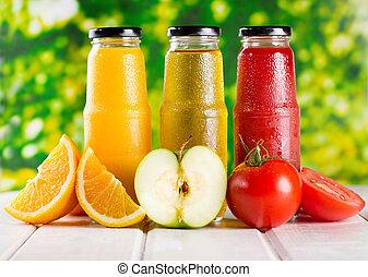 diferente, garrafas, de, suco, com, frutas