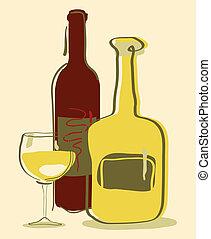 diferente, garrafas, vidro vinho