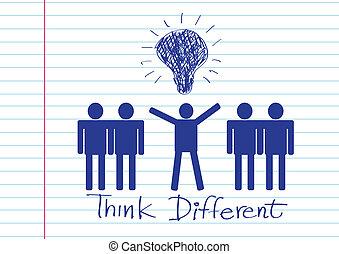diferente, gente, pensar, iconos