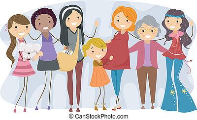 diferente, gerações, mulheres