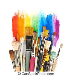 diferente, golpes, sobre, escovas, pintura, pilha