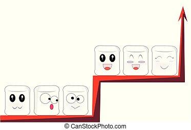 diferente, gráfico, ramas, sentarse, mismo, caras, ...