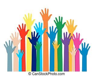 diferente, grupo, colors., mãos