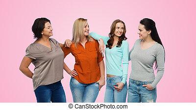 diferente, grupo, ropa, feliz,  casual, mujeres