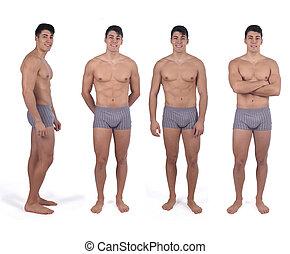 diferente, homem, poses