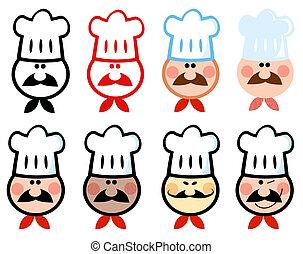 diferente, icono, chef
