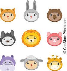 diferente, iconos, aislado, animal, caras, blanco