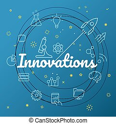 diferente, iconos, concept., innovations, delgado, included, línea