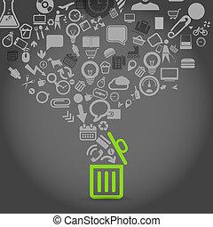 diferente, iconos, flujos, en, basura, cesta
