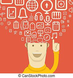 diferente, iconos, flujos, en, moderno, smartphone.,...