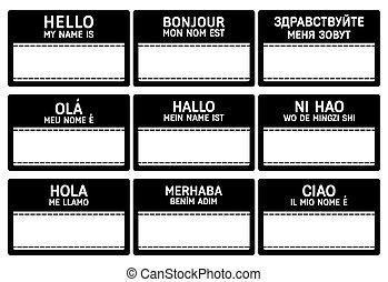 diferente, idiomas, etiqueta, nombre
