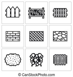 diferente, illustration., ícones, set., cobrança, materiais, vetorial, cercas