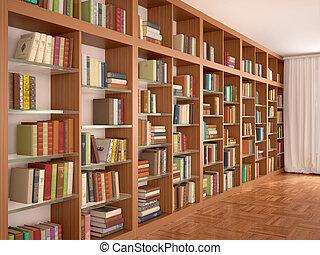 diferente, illustration., estantes, de madera, books.,...