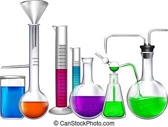 diferente, ingredients., líquido, tubo, eqipment, químico,...
