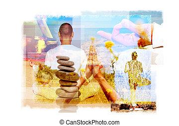 diferente, ioga posiciona, iogue, múltiplo, exposições
