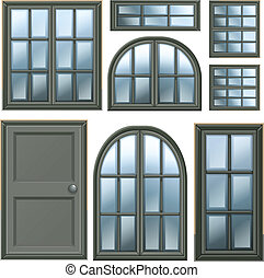 diferente, janelas, desenho