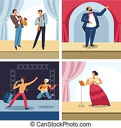 diferente, jazz, artistas, ópera, amaestrado, teatro, roca, etapa, artes, genres