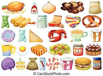 diferente, jogo, alimentos