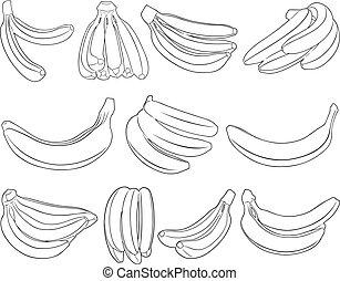 diferente, jogo, bananas
