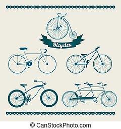 diferente, jogo, bicycles
