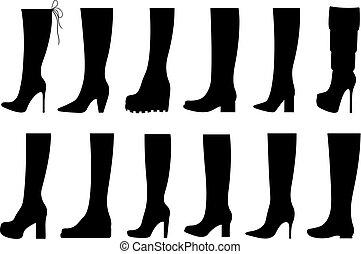 diferente, jogo, botas