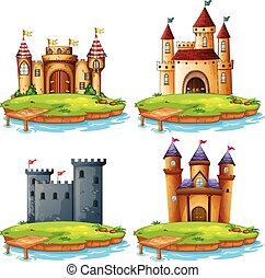 diferente, jogo, castelo