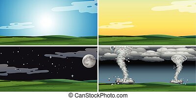diferente, jogo, clima, paisagem