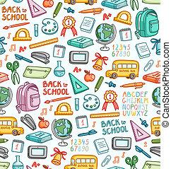 diferente, jogo, cor, coisas, escola, seamless, padrão