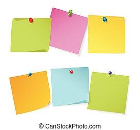 diferente, jogo, cor, nota, papeis, pushpins