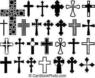 diferente, jogo, cruzes