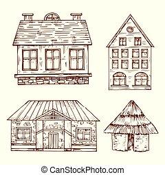 diferente, jogo, estilo, mão, casas, vetorial, desenhado