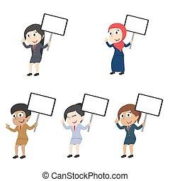diferente, jogo, executiva, sinal, raça, tábua, segurando