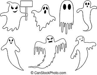 diferente, jogo, fantasmas
