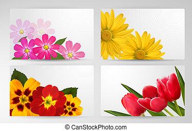 diferente, jogo, flower., coloridos, vetorial, bandeiras, illustration.